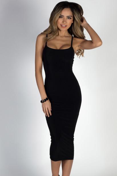 """Angel Heart"" Black Elegant Simple Bodycon Long Midi Dress"