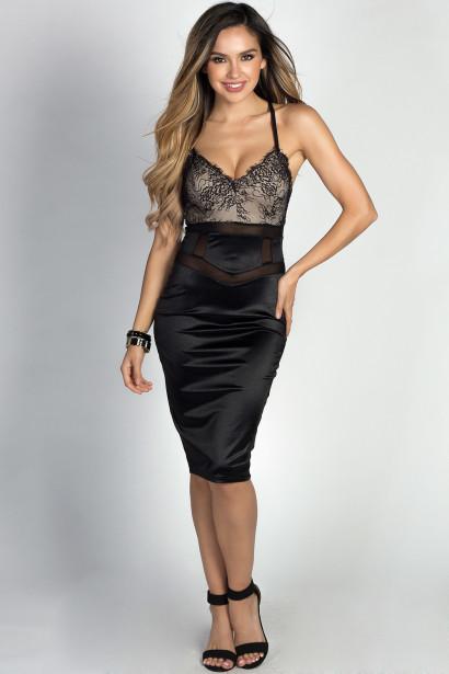"""Chrissy"" Black Satin & Lace Sexy Bodycon Midi Dress"