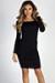 """""""Dilemma"""" Black Off Shoulder Long Sleeve Shirred Dress"""