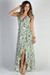 """Love Story"" Sage Floral Print Ruffled High Low Strappy Wrap Dress"