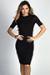 """Kennedy"" Black Ribbed 3/4 Sleeve High Neck Bodycon Midi Dress"