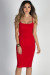 """Effortless Beauty"" Red Spaghetti Strap Bodycon Midi Dress"