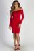 """""""Dilemma"""" Red Off Shoulder Long Sleeve Shirred Dress"""