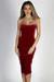 """""""Classic Beauty"""" Red Velvet Strapless Sweetheart Midi Dress"""