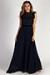 """Blissful Beauty"" Navy High Neck Crochet Lace Maxi Dress"