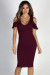 """Midnight in Paris"" Burgundy Cold Shoulder Flutter Sleeve Midi Dress"