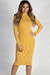 """""""One Step Ahead"""" Mustard Yellow And White Striped Lettuce Hem Mock Neck Dress"""