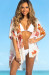 Perrier Ivory Red Floral Print Chiffon Kimono Beach Cover Up