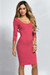 """Dylan"" Pink 3/4 Sleeve Cute and Casual Bodycon Dress"