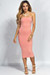 """Camella"" Peach Jersey Bodycon Midi Tube Dress"