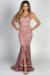 """Dulcinea"" Mauve Lace Sleeveless Dramatic Ruffled Mermaid Gown"