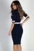 """Patriot Games"" Navy Half Sleeve Contrast Stripe Midi Sweater Dress"