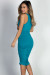 """Fabiola"" Turquoise Ruched Bodycon Jersey Tank Midi Dress"
