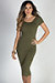 """One & Only"" Olive Scoop Back Short Sleeve Midi Dress"