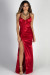 """""""Queen of Hearts"""" Red Satin Thigh High Slit Maxi Gown"""