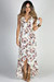 """Love Story"" Ivory Floral Print Ruffled High Low Strappy Wrap Dress"
