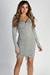 """Tokyo Love"" Heather Grey Ruched Brushed Hacci Dress"