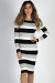 """Saturday Vibes"" Black, Gray & White Striped Midi Sweater Dress"