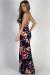 """Feel My Love"" Navy Floral Print Double Slit Maxi Dress"
