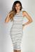 """Nautical Chic"" White & Black Striped Sleeveless Bodycon Jersey Midi Dress"