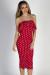 """Delightful Dots"" Red Polka Dot Strapless Ruffled Midi Dress"