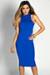 """Garcelle"" Royal Blue Turtleneck Sleeveless Jersey Bodycon Midi Dress"