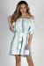 """""""Happy"""" Sky Blue Stripe Off Shoulder Dress"""