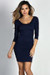 """Dylan"" Navy 3/4 Sleeve Cute and Casual Bodycon Dress"