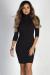 """Simple Pleasures"" Black 3/4 Sleeve Jersey Bodycon Classic Turtleneck Midi Dress"