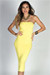 """Camella"" Yellow Jersey Bodycon Midi Tube Dress"