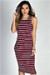 """Nautical Chic"" Burgundy & White Striped Sleeveless Bodycon Jersey Midi Dress"