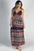"""Sundance"" Navy Multicolor Boho Tribal Print Double Strap Maxi Dress"