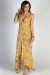 """Love Story"" Mustard Floral Print Ruffled High Low Strappy Wrap Dress"
