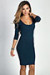 """Dylan"" Indigo Blue 3/4 Sleeve Cute and Casual Bodycon Dress"
