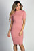 """Kennedy"" Rose Ribbed 3/4 Sleeve High Neck Bodycon Midi Dress"