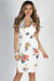 """""""Perfectly Composed"""" Ivory & Coral Classy Floral Print Sheath Dress"""