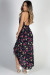 """Someone to Love"" Navy Floral Ruffled Shirred Waist Ruffled High Low Dress"