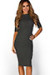 """Kennedy"" Charcoal Grey Ribbed 3/4 Sleeve High Neck Bodycon Midi Dress"