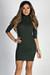 """Simple Pleasures"" Hunter Green 3/4 Sleeve Jersey Bodycon Classic Turtleneck Midi Dress"