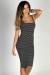 """Boardwalk Babe"" Black & White Striped Scoop Neck Bodycon Tank Midi Dress"