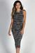 """Nautical Chic"" Black & White Striped Sleeveless Bodycon Jersey Midi Dress"