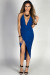 """Lorenza"" Royal Blue Strappy Backless Midi Dress with Thigh High Slit"
