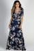 """At the Villa"" Navy Floral Print Maxi Wrap Dress"