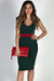 """Under the Mistletoe"" Green & Red V Neck Midi Sweater Dress"