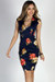 """""""Perfectly Composed"""" Navy & Red Classy Floral Print Sheath Dress"""
