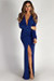 """Divine Feminine"" Royal Long Sleeve Deep V Maxi Gown"