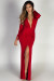 """Theda"" Red Plunging Deep V Long Sleeve Maxi Dress"